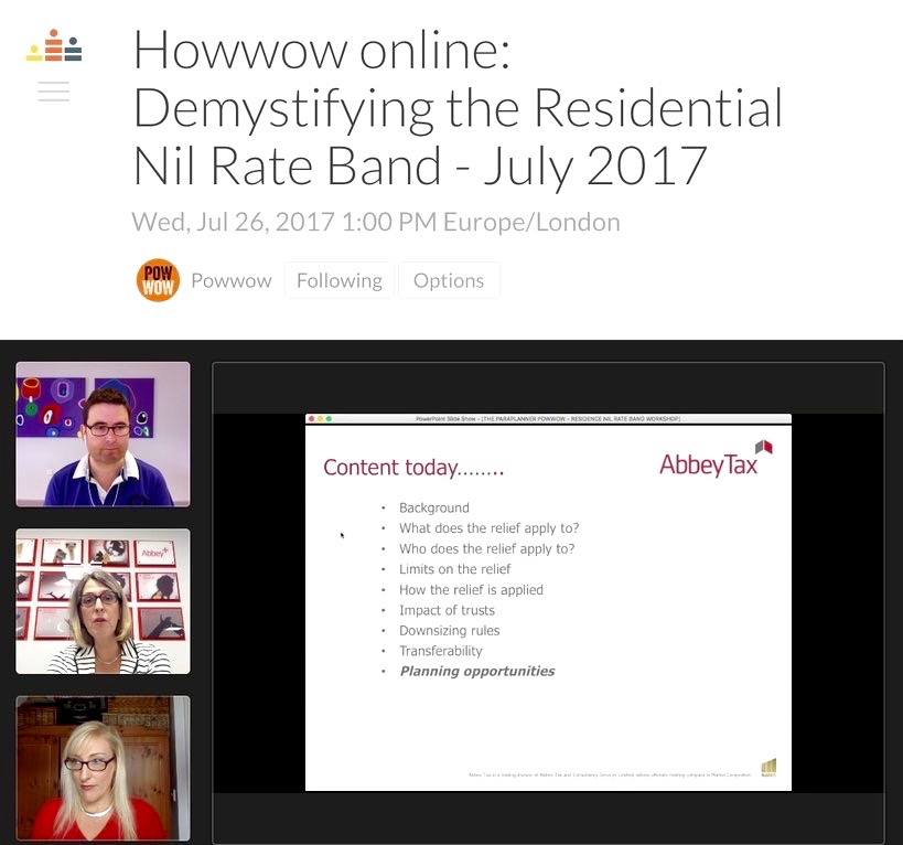 July Howwow Residence Nil Rate Band